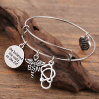 Physician Medical Assistant Caduceus Charm Stainless Steel Womens Bracelets