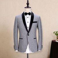 New Gray Men Groom Tuxedo Black Peak Lapel Jacket Wedding Suits Custom Made