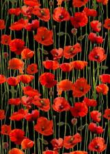 Anzac Day Remembering Day Red Poppies Black Blckgrnd Cotton Quilting Fabric 1/2Y