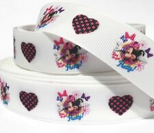 "Grosgrain Ribbon 7/8"" Valentine's Day Love Hearts Minnie Mouse v3 USA Seller"