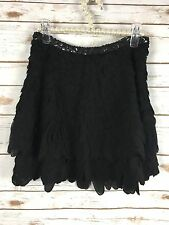 Zara Woman's Sequin Black Flutter Mini Skirt Sz XS New