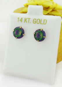 MYSTIC TOPAZ 4.68 Cts STUD EARRINGS 14K YELLOW GOLD ** New With Tag **