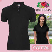 Fruit Of The Loom Ladies Polo Shirt Black Cotton Polos Womens Polo Tops Casual