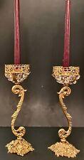 Antique Cast Brass Candlesticks Graduated Gallery Crystals Flowers Feet& Baskets