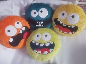 Minky Dimple Handmade Cute Funny Scary Cartoon Monster Face Kids Cushion Pillow
