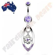 316L Surgical Steel Cz Gem Belly Ring with Purple Cz Gem Flower in Oval Dangle