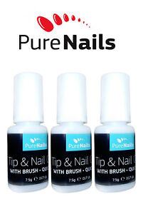 7.5 gr x 3 Nail Tip Glue Adhesive False Nail Glue Super Strong WITH BRUSH, EU