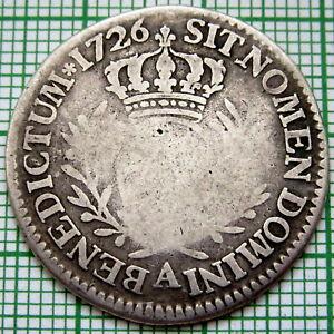 FRANCE LOUIS XV 1726 A 1/5 ECU, PARIS, R COUNTERMARKED OBVERSE, SILVER