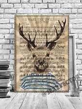 Marinaio Deer Cervo Illustrazione con Cornice Tela Immagine Lirica Page Art #220