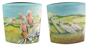 Wild Cockatoos & Galahs Hand Painted Bird Vase approx 26.5cm High ONE ONLY