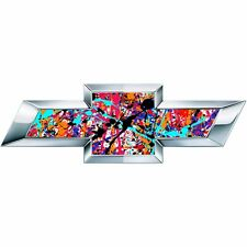 2 Paint Splatter Universal Chevy Bowtie Vinyl Sheets Emblem Overlay