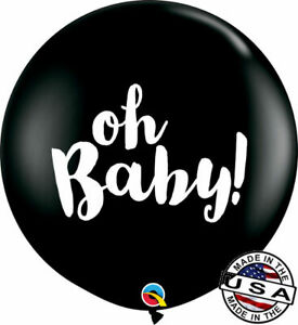 """3 ft HUGE 36"""" Oh Baby Gender Reveal Black Qualatex Latex Balloon Decoration"""