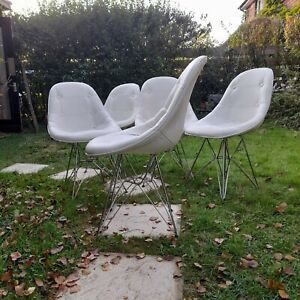 4 Vintage White Herman Miller Vitra Eames Style Chairs With Chrome Eiffel Base.