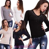 Pullover donna maglione STRASS pizzo scollo V maniche lunghe nuovo FZ-9760