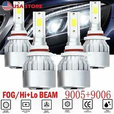 4PCS 9005 9006 LED Headlight Kit Combo Total 3000W 450000LM High Low Beam 6000K