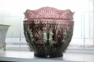 Antique Weller Pottery Jardiniere Egyptian Motif Pink and Brown