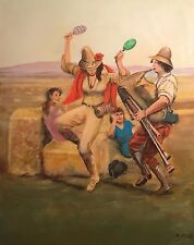 """DAVID ALDUS ORIGINAL """"Brittany Bagpipes"""" rural country life France OIL PAINTING"""