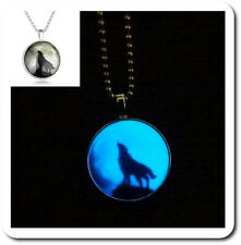Leuchtender Wolf Halskette Set Anhänger Acrylglas Kette Kugelkette Wappen