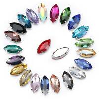 Eye Rugby Shape Sew on Flatback Crystal Glass Rhinestones Claw Up Craft Beads