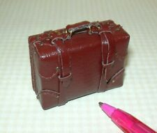 Miniature Falcon SMALL Brown Suitcase w/Working Buckles, Opens!: DOLLHOUSE 1:12