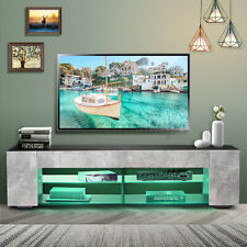 57'' TV Stand Unit Cabinet Entertainment Center w/LED Light Shelves for 65'' TV