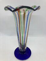 Mexico Art Glass Striped Flower Vase