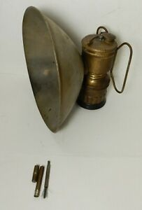 OLD TALL BRASS GUY'S DROPPER CARBIDE LAMP W/ LARGE REFELCTOR & CLEANING TOOL