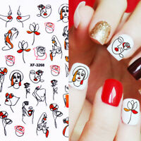 Flower Leaves 3D Nail Stickers Nail Art Transfer Decals Tips DIY Nail Decoration