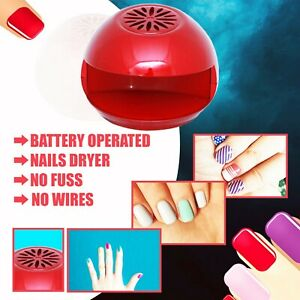 Portable Nail Polish Dryer Easy Quick Drying Fan Beauty Manicure Red