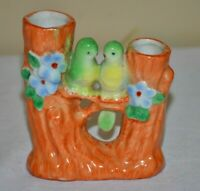 Vintage Japan Double Tree Bud Vase Parakeet Love Birds Figurines Hand Painted
