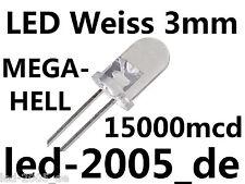 100 x LED bianco 3mm, 15000mcd, 20ma, 7000k, LED 3mm bianco, led 3mm White, blanches,
