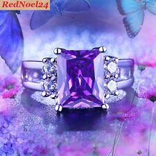 Super Atrovic Emerald cut Amethyst/White Cubic Zirconia S925 Stamp Ring SZ 6 - L