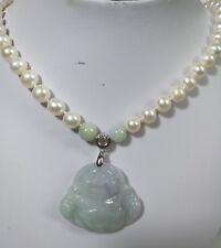 Genuine7-8mm Near RND freshwater pearl Certified Jadeite pendant necklace L48cm