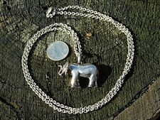 SUSAN CUMMINGS STERLING ELEPHANT NECKLACE ARTISAN DIMENSIONAL RARE LONG WILD