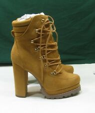 """NEW  ladies TAN  5""""BLOCK High Heel ROUND Toe lace up Sexy Ankle Boots Size 10"""