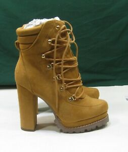 """NEW  ladies TAN  5""""BLOCK Heel ROUND Toe lace up Sexy Ankle Boots WOMEN Size 10"""