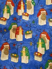 Christmas Primitive Nativity Holy Family on Blue 2 pieces approx. 1 1/2 yard ea