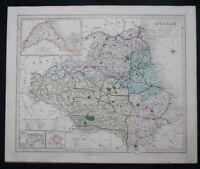 Antique Map Durham County England J & C Walker c1864 Victorian