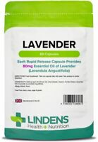 Lavender Essential Oil 80mg 60 Capsules Mood Sleep Relaxation Anxiety Lindens UK