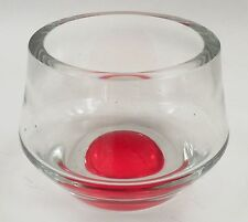 Heavy Clear Thick Glass Crystal Flower Accent Bowl Dish Red Dot Base Ground Rim
