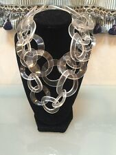 NWOT Clear Link Long Statement Necklace Anthropologie