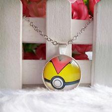 Level Ball Pokeball Pokemon Pendant Tibet silver Cabochon Glass Chain Necklace