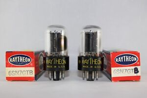 """Boxed Pair Raytheon USA 6SN7GTB SIDE """"D"""" Getter TEST STRONG 96-108% NEW NOS"""