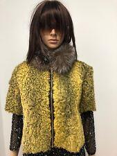 GREEN Yellow PERSIAN LAMB FUR COAT 1/2 SLEEVES Indigo Fox Fur Collar Sz.S-M