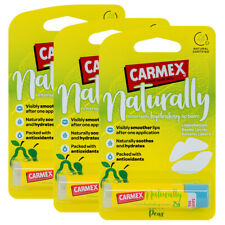 3 x Carmex NATURALLY Pear Lip Balm Natural Hydrating Moisturising Stick 4.25g