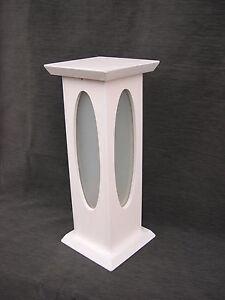 Stehleuchte/Blumensäule m. Glaseinsatz - Weiß