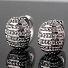 Antique Round Hollow Silver 18K White Gold Filled Women Lady Hoop Earrings Studs