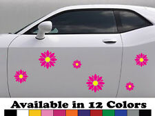 Set 6 x Daisy Two Colors Sticker Decals - Car Decals, Bumper Laptop Stickers
