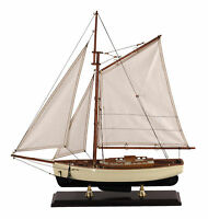 "1930s Classic Yacht Small Sailboat Wood Model 22"" Decorative Nautical Decor New"