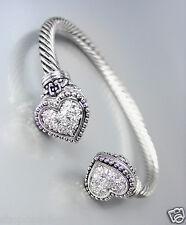 Designer Inspired Balinese Filigree Pave CZ Crystals Heart Tips Cuff Bracelet
